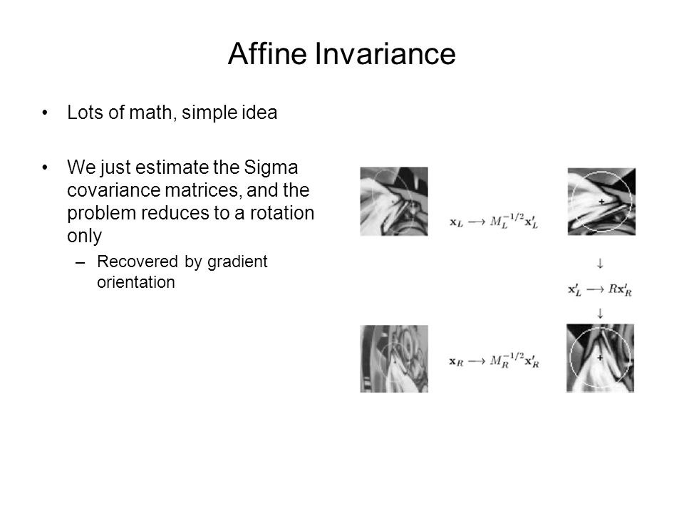 Affine Invariance Lots of math, simple idea We just estimate the Sigma covariance matrices, and the problem reduces to a rotation only –Recovered by gradient orientation