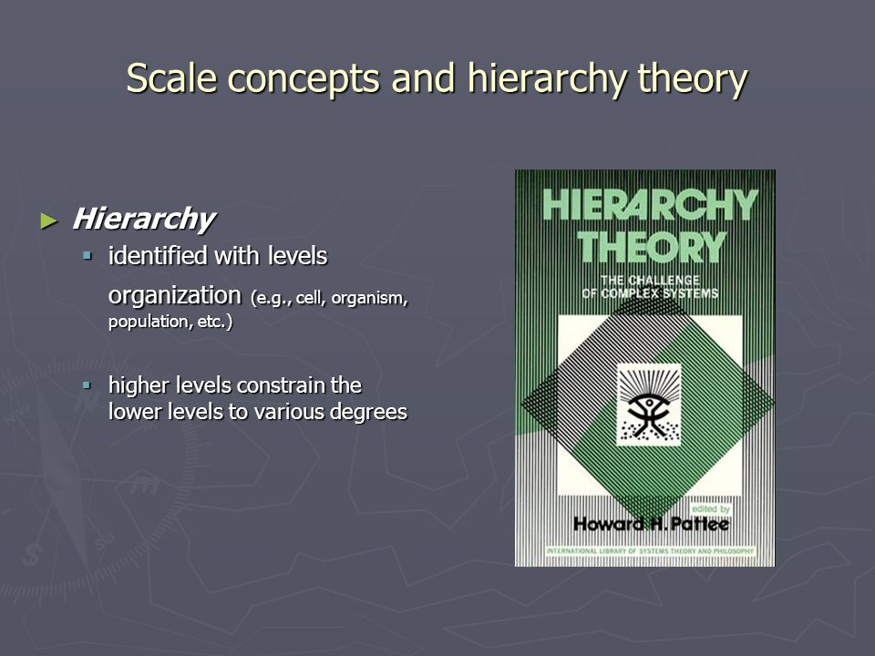 Scale concepts and hierarchy theory ► Hierarchy  identified with levels organization (e.g., cell, organism, population, etc.)  higher levels constra