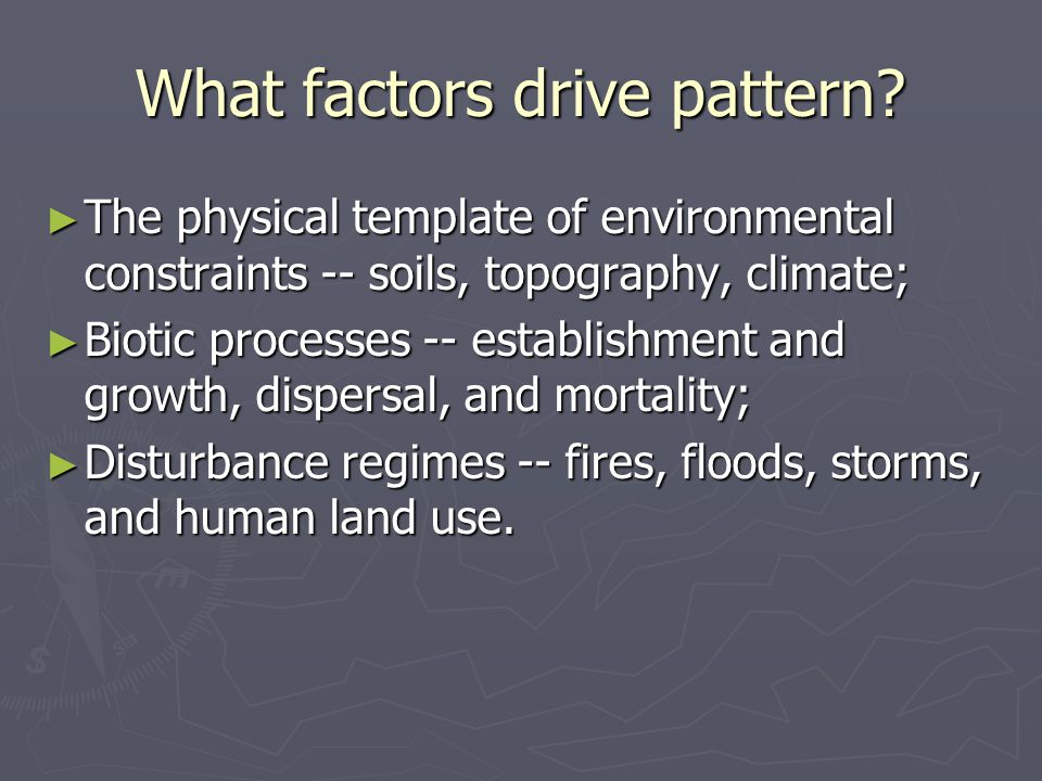 What factors drive pattern? ► The physical template of environmental constraints -- soils, topography, climate; ► Biotic processes -- establishment an