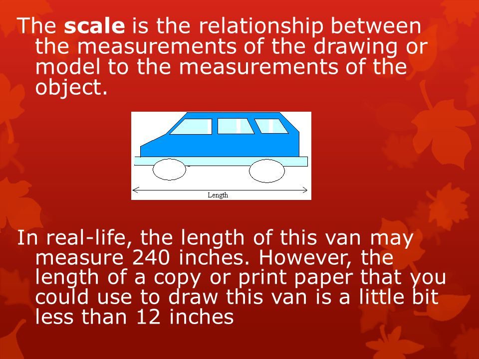 The scale is the relationship between the measurements of the drawing or model to the measurements of the object. In real-life, the length of this van