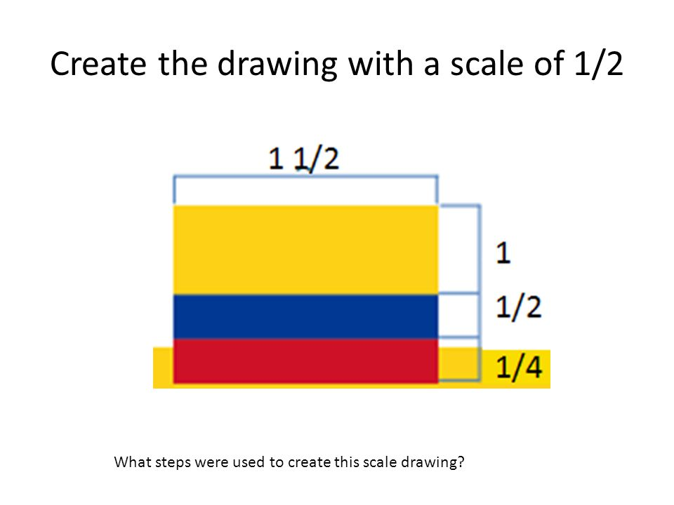 Create the drawing with a scale of 1/2 What steps were used to create this scale drawing?