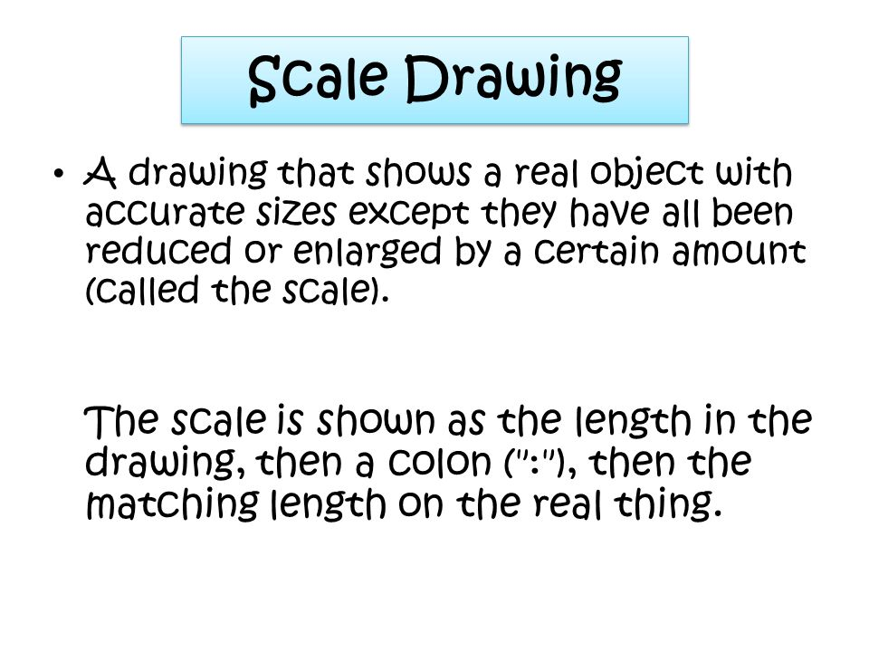 What is a scale drawing? http://www.basic-mathematics.com/scale-drawings.html