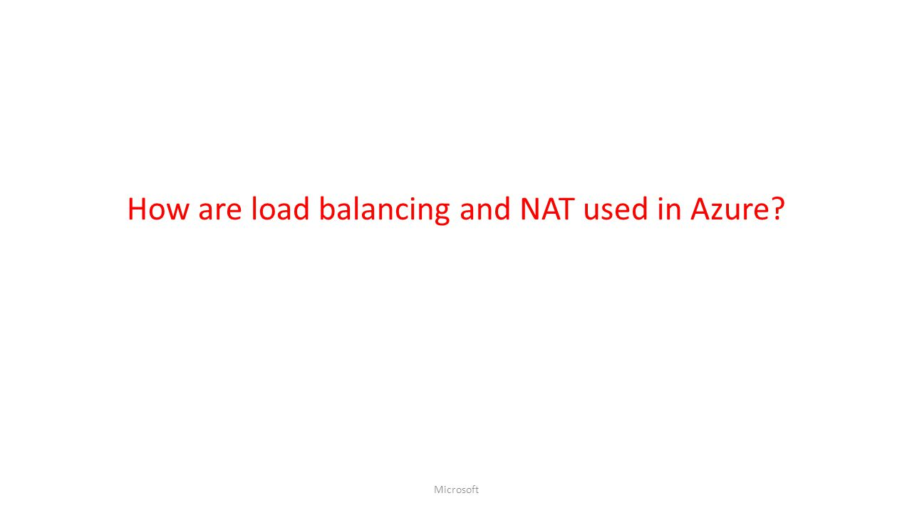 How are load balancing and NAT used in Azure? Microsoft