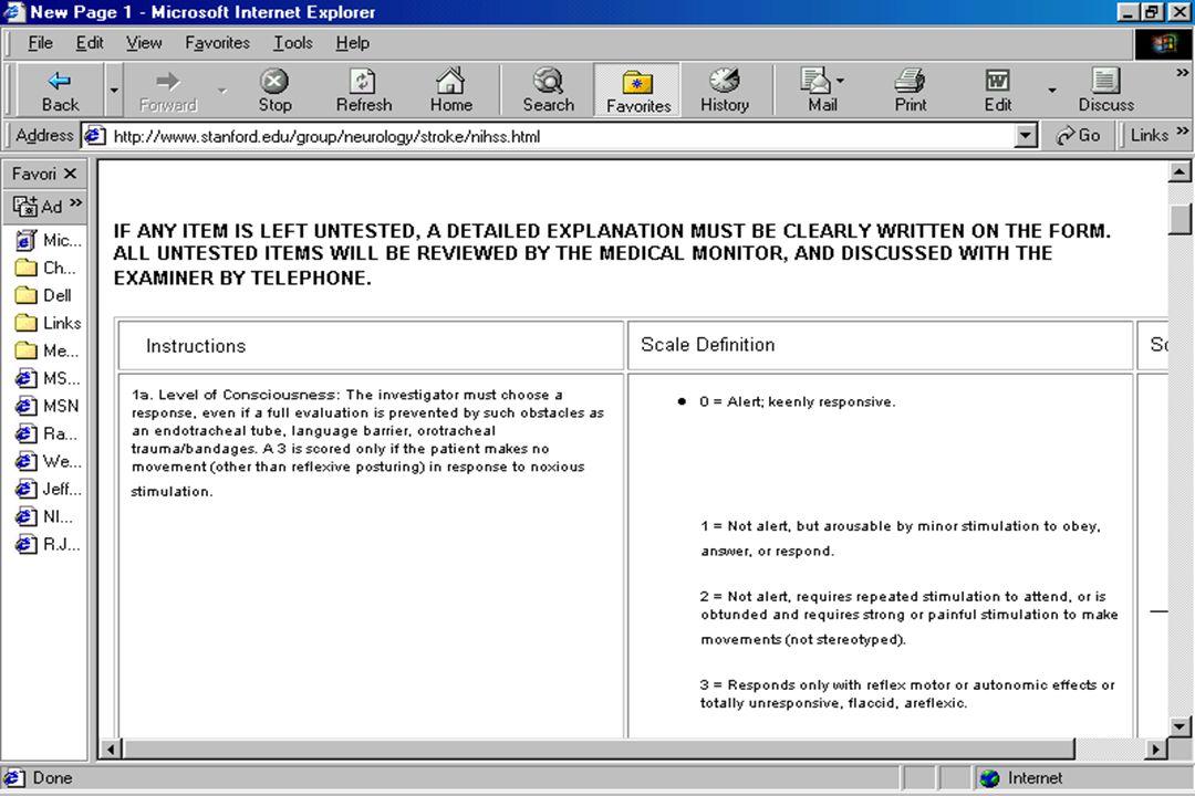 Edward Sloan, MD, MPH NIHSS Elements: LOC LOC overall0- 3 pts LOC questions 0-2 pts LOC commands 0- 2 pts LOC: 7 points total