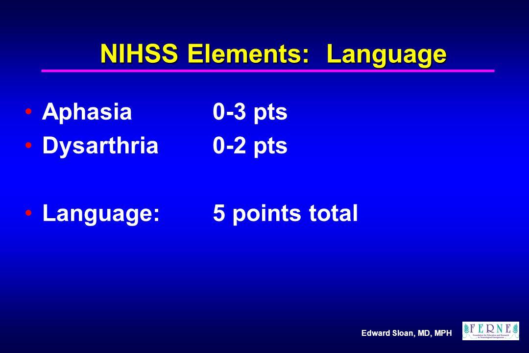Edward Sloan, MD, MPH NIHSS Elements: Language Aphasia0-3 pts Dysarthria0-2 pts Language: 5 points total