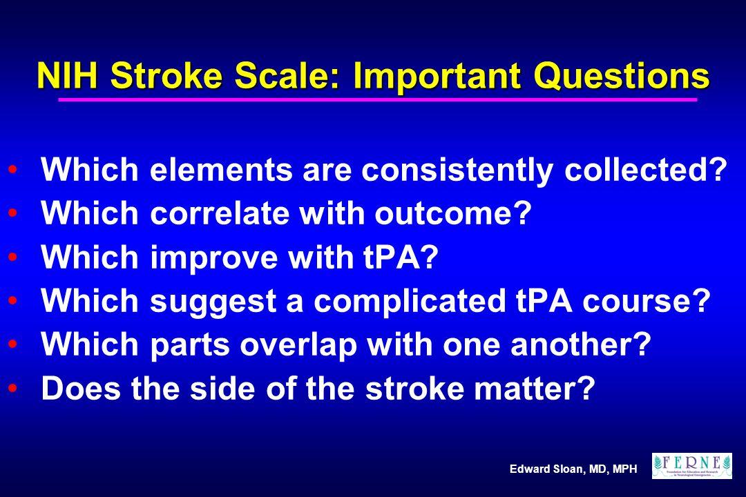 Edward Sloan, MD, MPH CVA Symptom Side and Rx R sided stroke, L sided symptoms R sided stroke, non-dominant R sided stroke, inattention, 2 points L sided stroke, R sided symptoms L sided stroke, dominant L sided stroke, language, 5 points