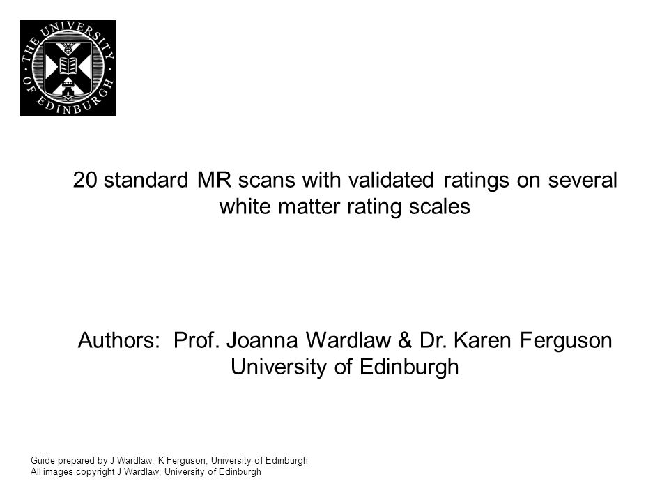 20 standard MR scans with validated ratings on several white matter rating scales Authors: Prof.