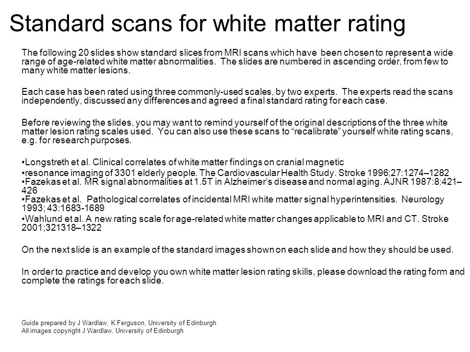 The following 20 slides show standard slices from MRI scans which have been chosen to represent a wide range of age-related white matter abnormalities.