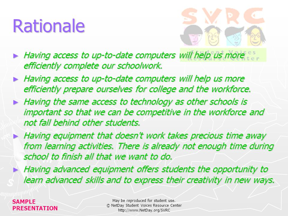SAMPLE PRESENTATION May be reproduced for student use.