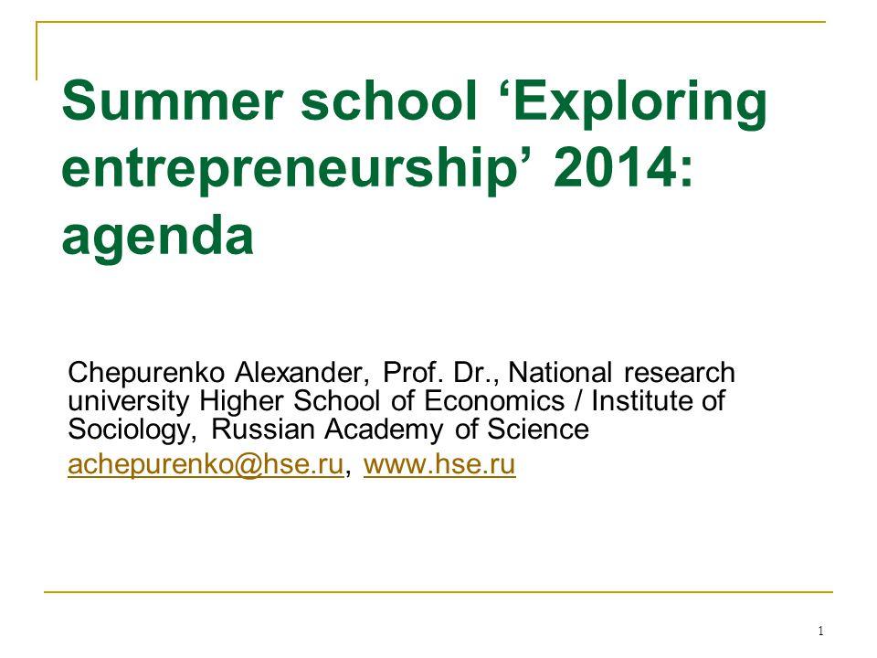 1 Summer school 'Exploring entrepreneurship' 2014: agenda Chepurenko Alexander, Prof.