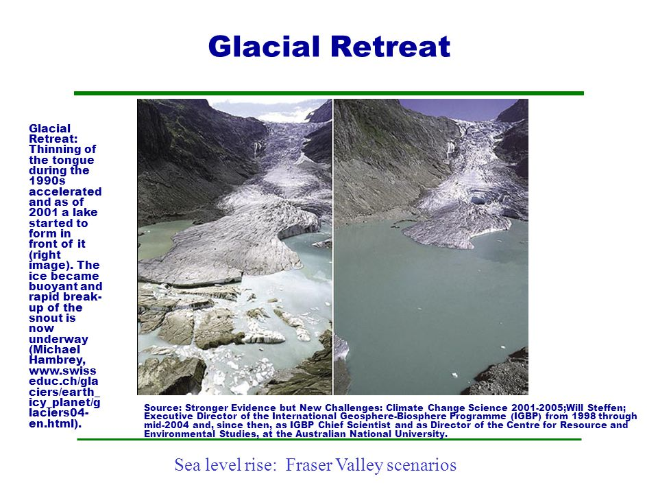 Sea level rise: Fraser Valley scenarios Glacial Retreat Glacial Retreat: Thinning of the tongue during the 1990s accelerated and as of 2001 a lake sta