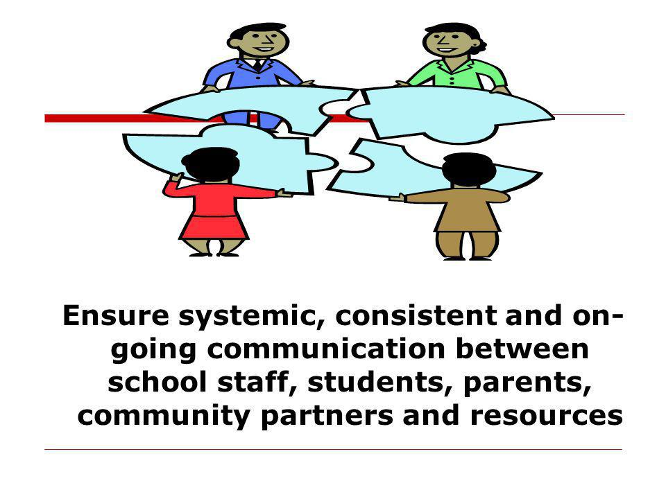 Ensure systemic, consistent and on- going communication between school staff, students, parents, community partners and resources