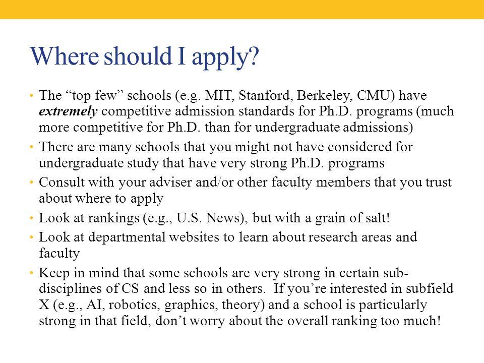 Where should I apply. The top few schools (e.g.