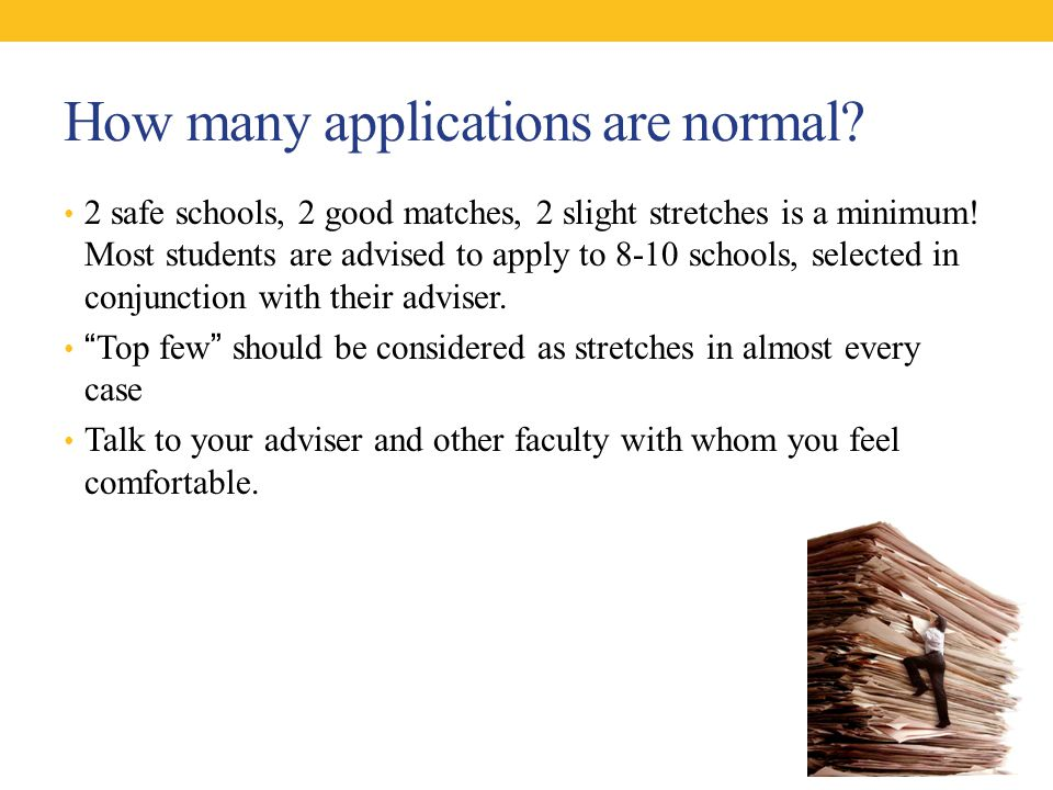How many applications are normal. 2 safe schools, 2 good matches, 2 slight stretches is a minimum.