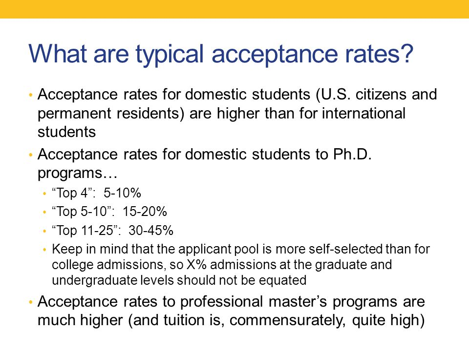 What are typical acceptance rates. Acceptance rates for domestic students (U.S.