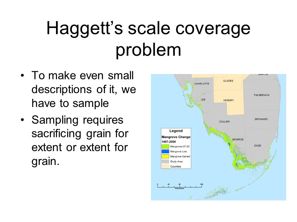 Haggett's scale coverage problem To make even small descriptions of it, we have to sample Sampling requires sacrificing grain for extent or extent for