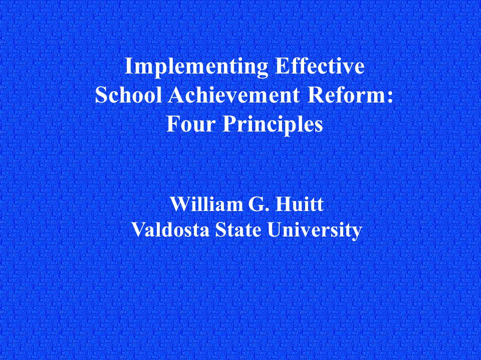 School Reform The last four decades has provided voluminous literature on how to increase the effectiveness of the education of children and youth.