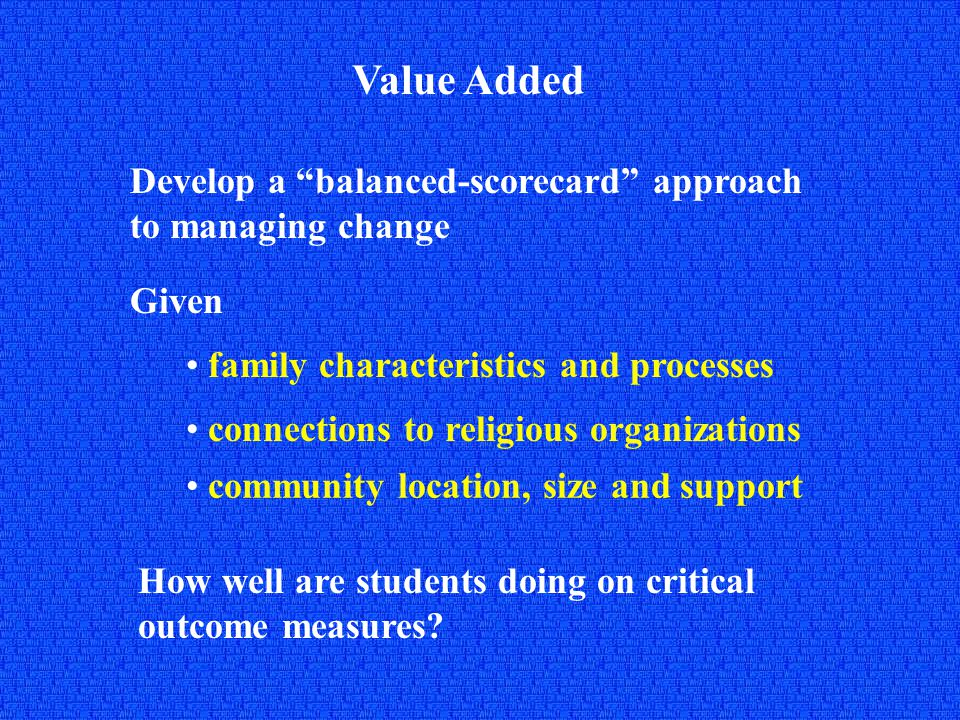 Value Added Develop a balanced-scorecard approach to managing change Given family characteristics and processes community location, size and support How well are students doing on critical outcome measures.