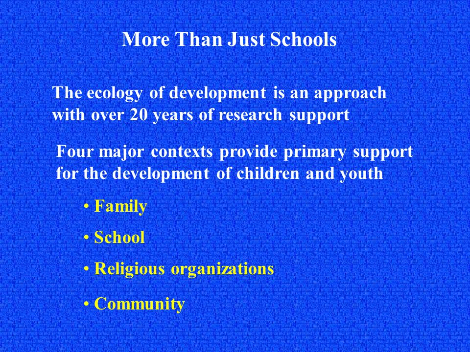 More Than Just Schools The ecology of development is an approach with over 20 years of research support Four major contexts provide primary support for the development of children and youth Community Family School Religious organizations