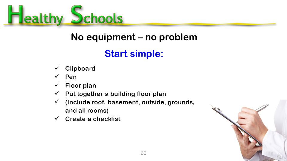 20 No equipment – no problem Start simple: Clipboard Pen Floor plan Put together a building floor plan (Include roof, basement, outside, grounds, and all rooms) Create a checklist 20