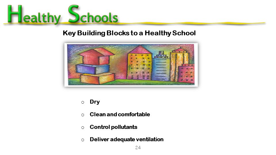 o Dry o Clean and comfortable o Control pollutants o Deliver adequate ventilation Key Building Blocks to a Healthy School 24