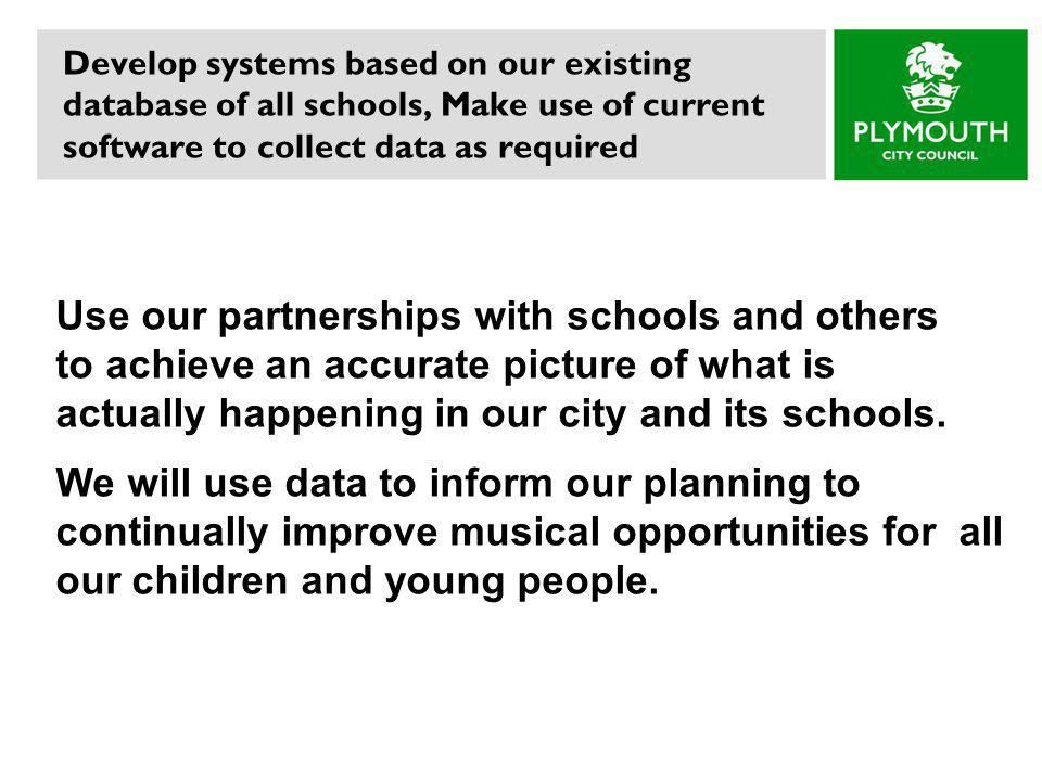 Develop systems based on our existing database of all schools, Make use of current software to collect data as required Use our partnerships with schools and others to achieve an accurate picture of what is actually happening in our city and its schools.