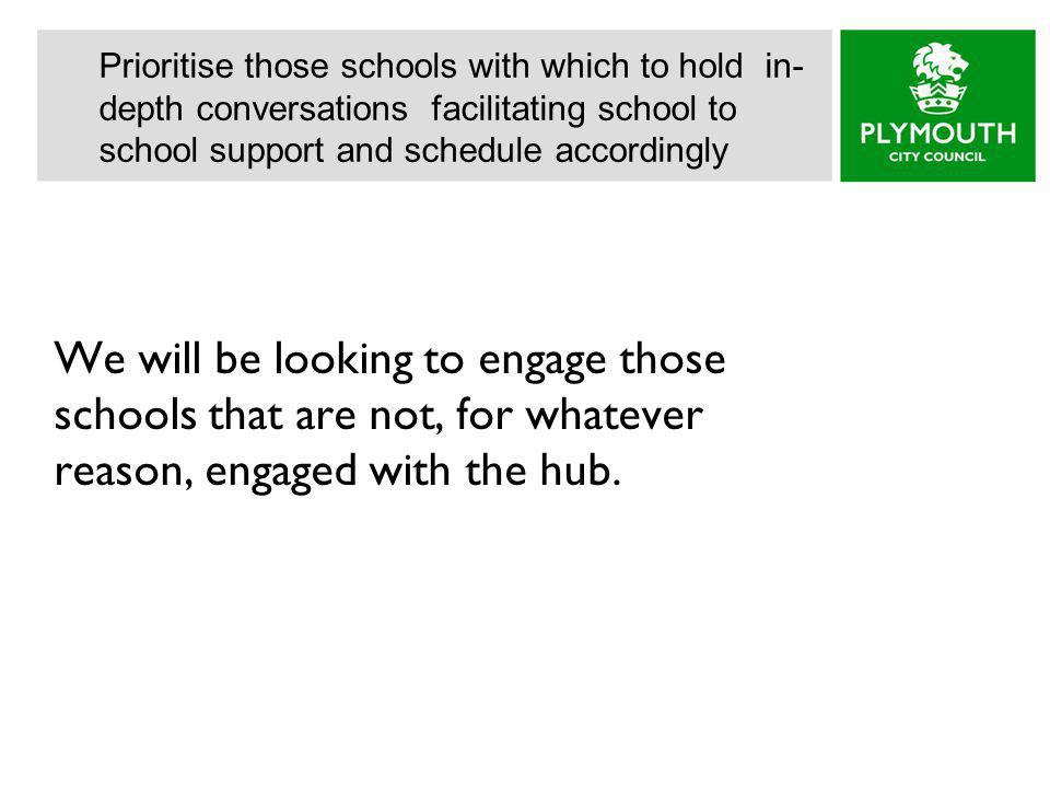 We will be looking to engage those schools that are not, for whatever reason, engaged with the hub.