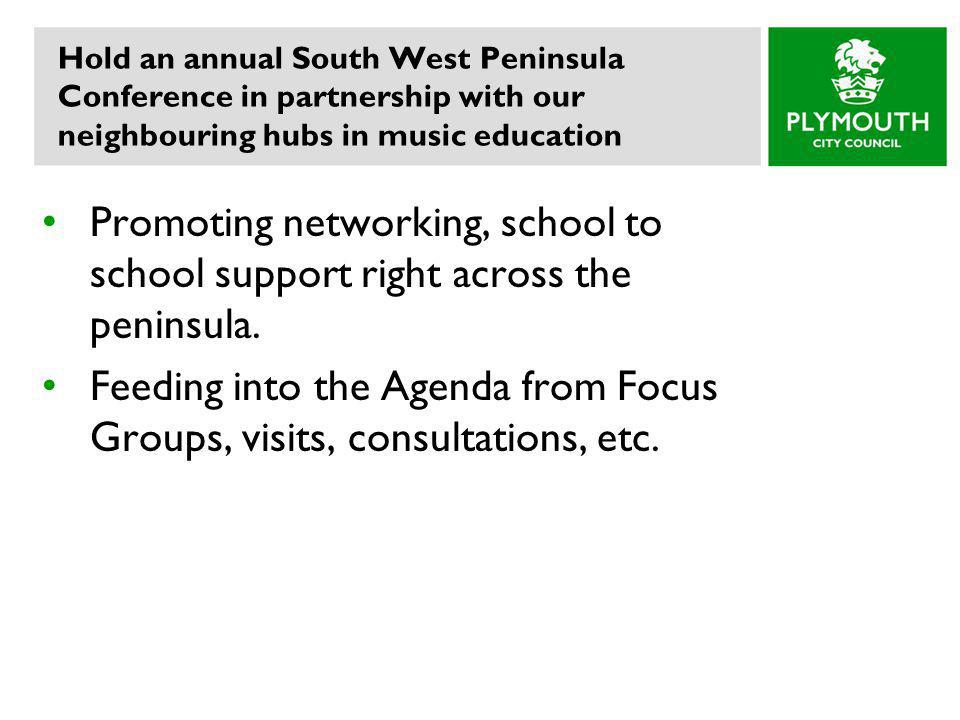 Hold an annual South West Peninsula Conference in partnership with our neighbouring hubs in music education Promoting networking, school to school support right across the peninsula.