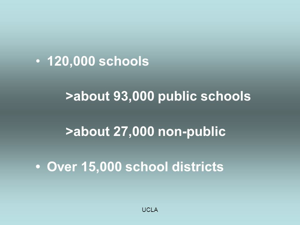 UCLA 120,000 schools >about 93,000 public schools >about 27,000 non-public Over 15,000 school districts
