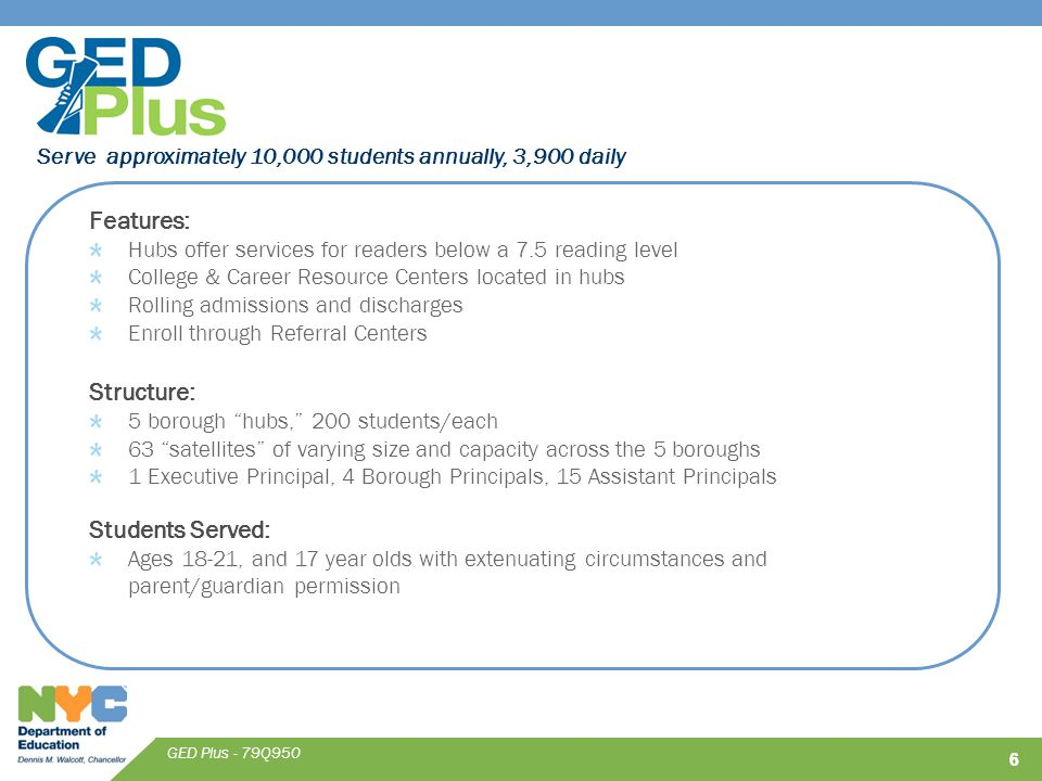 Serve approximately 10,000 students annually, 3,900 daily GED Plus - 79Q950 Features: Hubs offer services for readers below a 7.5 reading level College & Career Resource Centers located in hubs Rolling admissions and discharges Enroll through Referral Centers Structure: 5 borough hubs, 200 students/each 63 satellites of varying size and capacity across the 5 boroughs 1 Executive Principal, 4 Borough Principals, 15 Assistant Principals Students Served: Ages 18-21, and 17 year olds with extenuating circumstances and parent/guardian permission 66