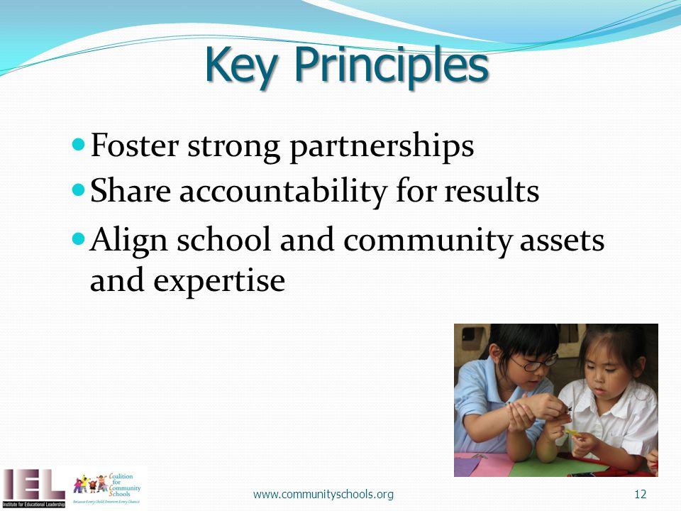 Key Principles Foster strong partnerships Share accountability for results Align school and community assets and expertise www.communityschools.org12