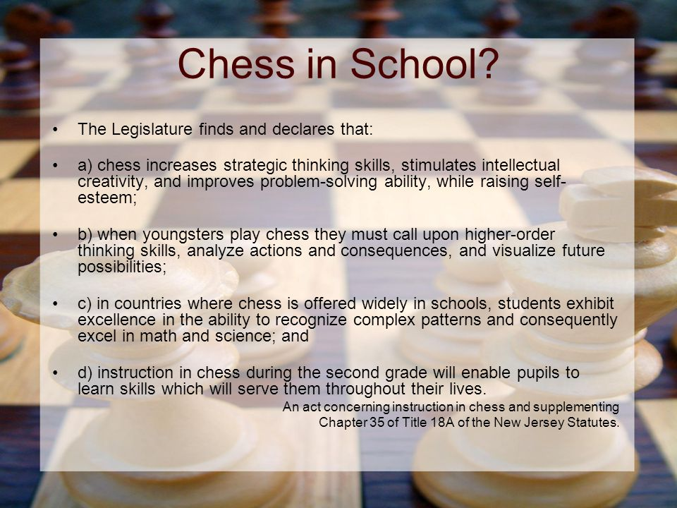 Chess in School.