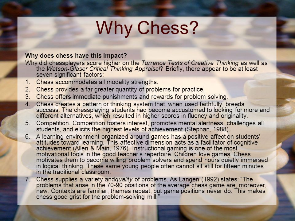 Why Chess. Why does chess have this impact.