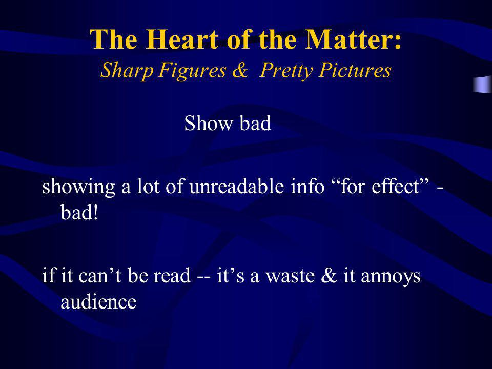 """The Heart of the Matter: Sharp Figures & Pretty Pictures Show bad showing a lot of unreadable info """"for effect"""" - bad! if it can't be read -- it's a w"""