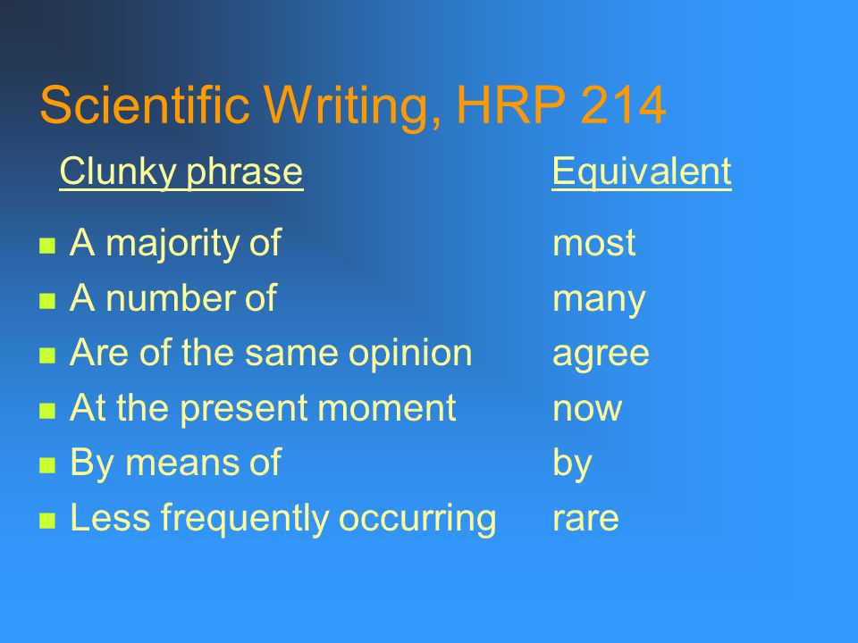 Scientific Writing, HRP 214 Dead weight phrases for the most part for the purpose of in a manner of speaking in a very real sense in my opinion in the