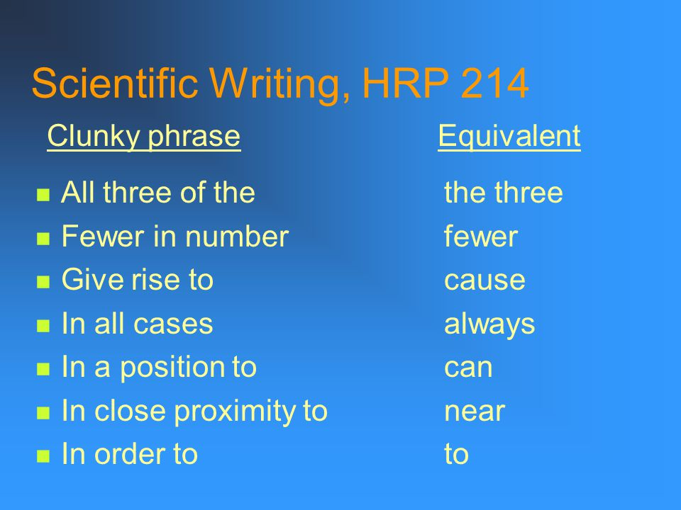 Scientific Writing, HRP 214 A majority ofmost A number of many Are of the same opinionagree At the present momentnow By means ofby Less frequently occ