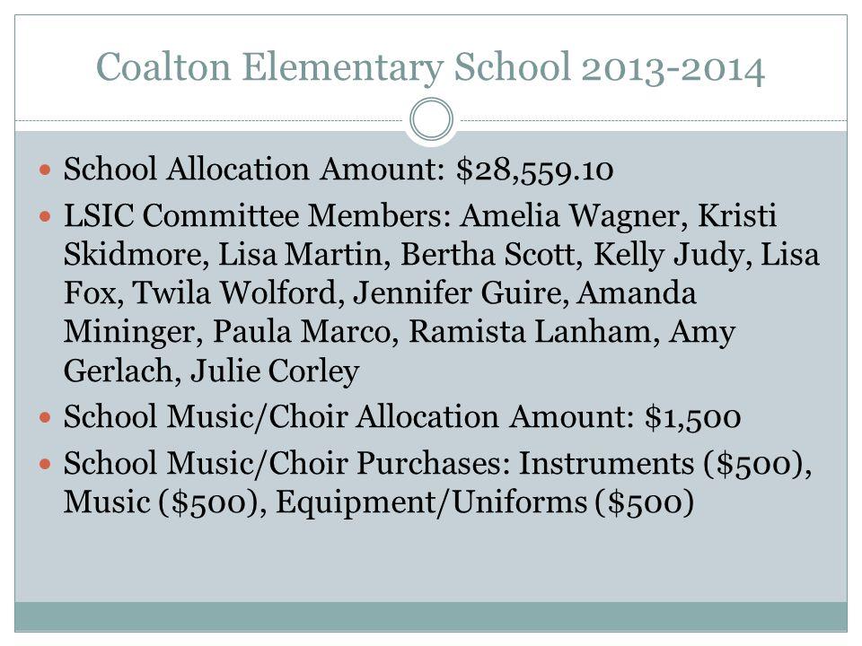 Coalton Elementary School 2013-2014 School Allocation Amount: $28,559.10 LSIC Committee Members: Amelia Wagner, Kristi Skidmore, Lisa Martin, Bertha Scott, Kelly Judy, Lisa Fox, Twila Wolford, Jennifer Guire, Amanda Mininger, Paula Marco, Ramista Lanham, Amy Gerlach, Julie Corley School Music/Choir Allocation Amount: $1,500 School Music/Choir Purchases: Instruments ($500), Music ($500), Equipment/Uniforms ($500)