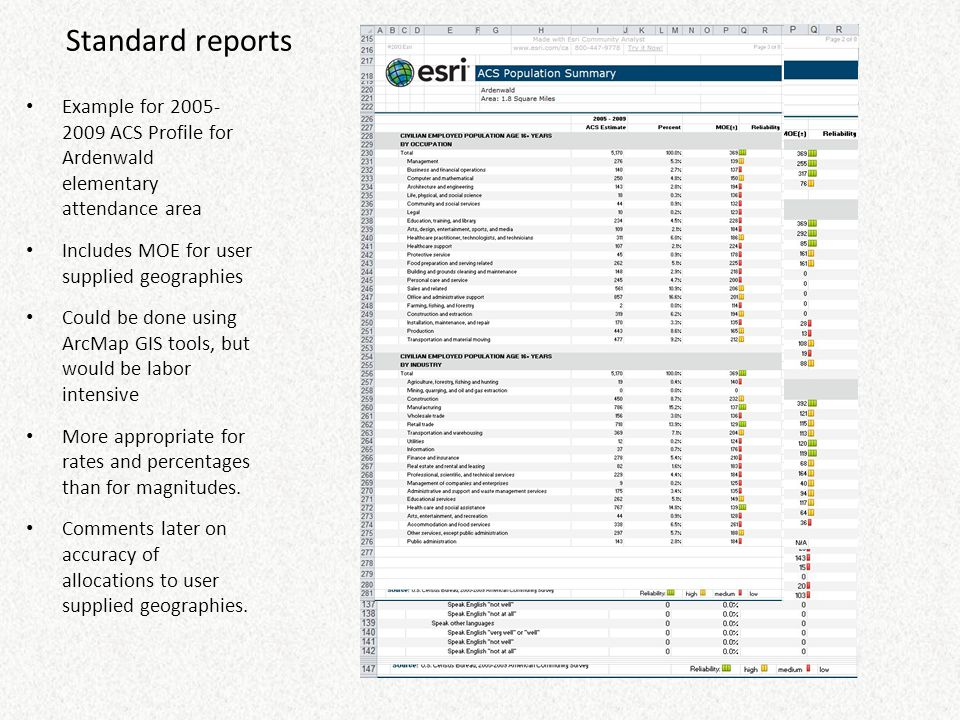 Standard reports Example for 2005- 2009 ACS Profile for Ardenwald elementary attendance area Includes MOE for user supplied geographies Could be done
