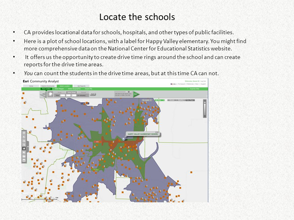 Locate the schools CA provides locational data for schools, hospitals, and other types of public facilities. Here is a plot of school locations, with