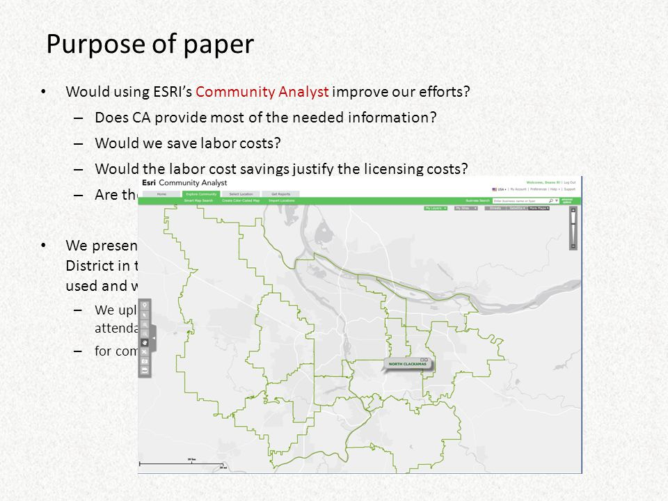 Purpose of paper Would using ESRI's Community Analyst improve our efforts? – Does CA provide most of the needed information? – Would we save labor cos