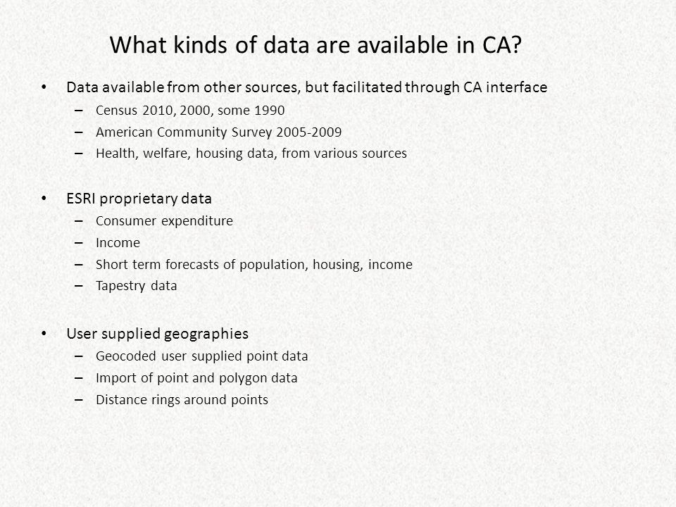 What kinds of data are available in CA.