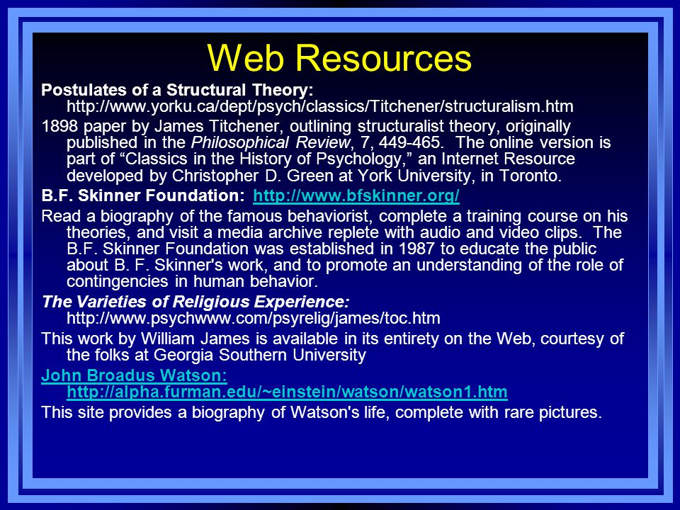 Web Resources Postulates of a Structural Theory: http://www.yorku.ca/dept/psych/classics/Titchener/structuralism.htm 1898 paper by James Titchener, ou