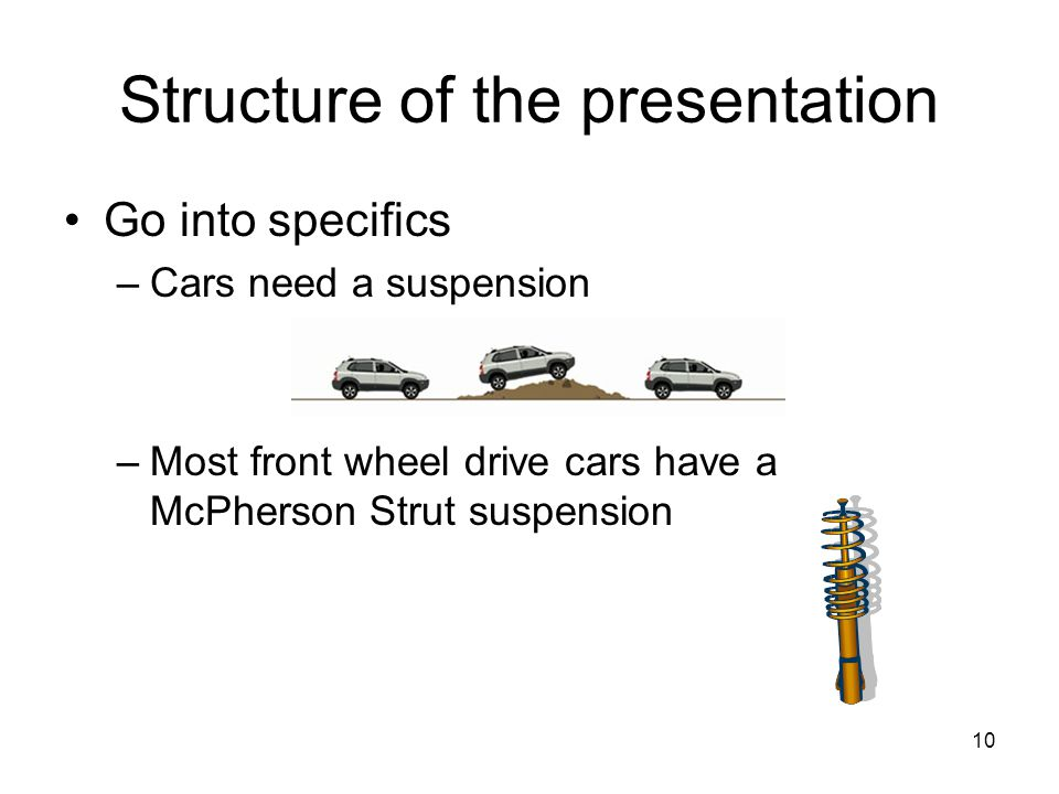 10 Structure of the presentation Go into specifics –Cars need a suspension –Most front wheel drive cars have a McPherson Strut suspension
