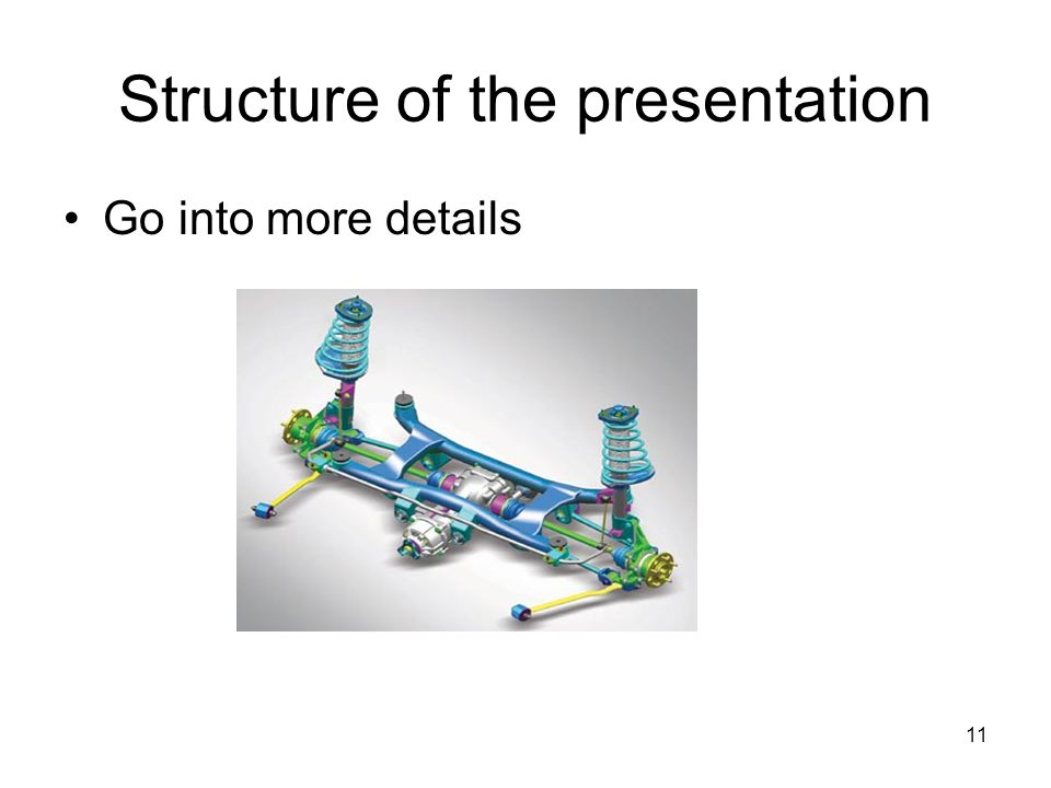 11 Structure of the presentation Go into more details