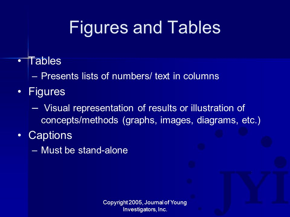 Copyright 2005, Journal of Young Investigators, Inc. Figures and Tables Tables –Presents lists of numbers/ text in columns Figures – Visual representa