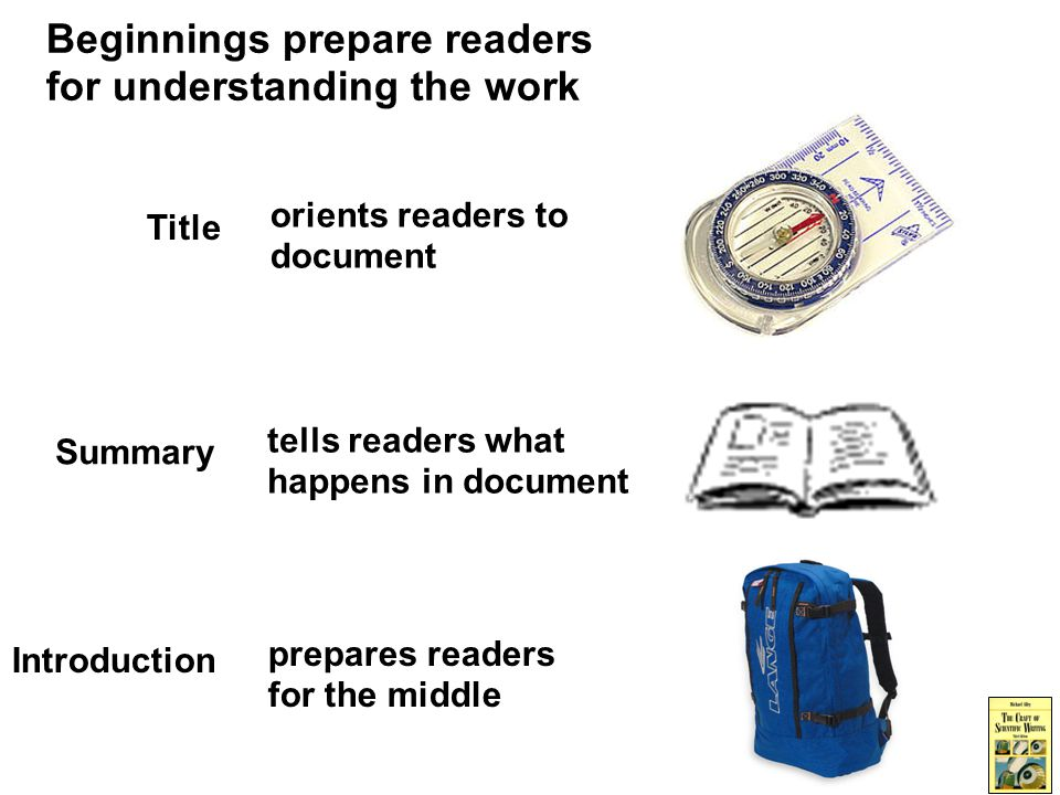 Beginnings prepare readers for understanding the work Summary tells readers what happens in document Introduction prepares readers for the middle Title orients readers to document