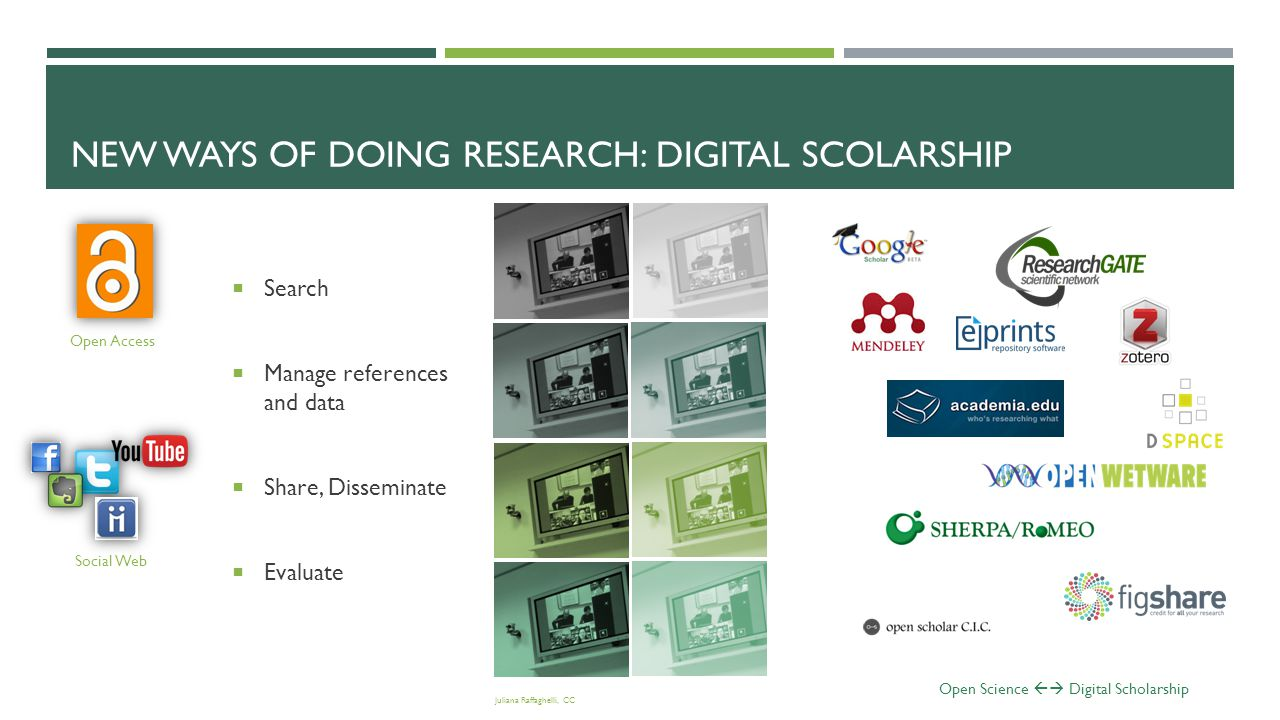 NEW WAYS OF DOING RESEARCH: DIGITAL SCHOLARSHIP A new professoriate (Weller, 2011, based on Boyer, 1990)  a) discovery (or the process of creating knowledge);  b) integration (or the creation of new knowledge across disciplines);  c) application (or the dissemination and exploitation of knowledge);  d) teaching (or the core of the University's endeavor).