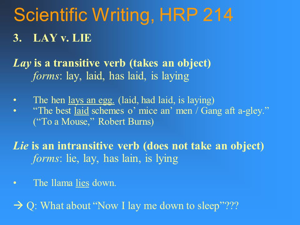 Scientific Writing, HRP LAY v.
