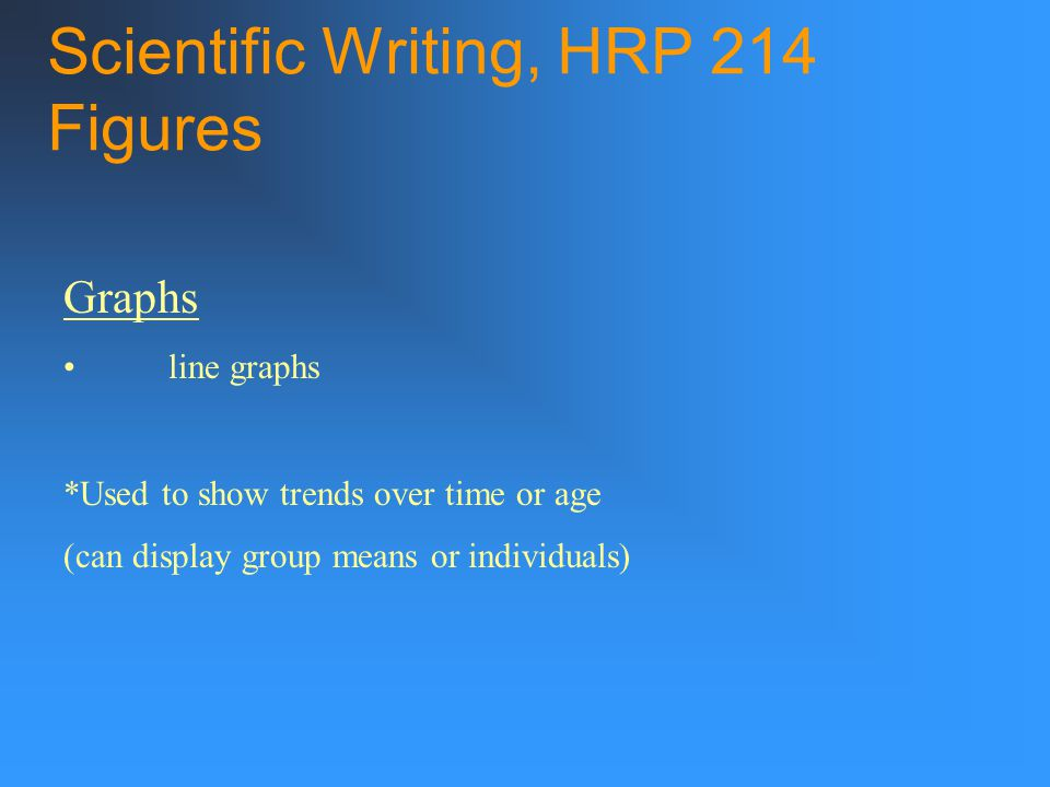 Scientific Writing, HRP 214 Figures Graphs line graphs *Used to show trends over time or age (can display group means or individuals)
