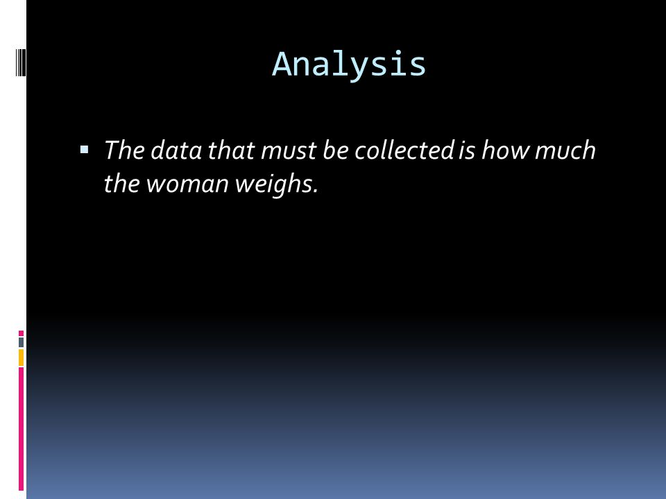 Analysis  The data that must be collected is how much the woman weighs.